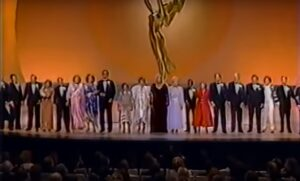 """A bunch of old TV stars Stephen Sondheim's """"Old Friends"""" at the 1986 Emmys"""